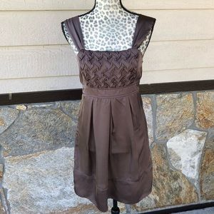 Charolette Russe Taupe Satin Wide Strap Dress Sz M
